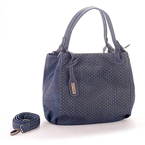 Artelusa Cork Top Handle Handbag Blue Adjust/Remov Strap Eco-Friendly Handmade in Portugal