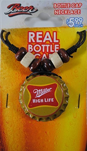 Miller High Life Bottle Cap Adjustable Leather Cord Necklace by Miller - Miller Cap High Life