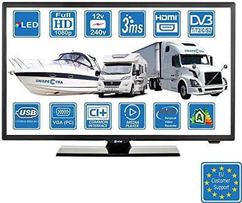 Autocaravanas Cravana Camper Barco 12v 22 Pulgadas 56 cm LED Full HD Digital TV DVB-T2/C/S2 TDT, Cable, Satélite TV. 12V 220V USB PVR & Reproductor Multimedia, VGA & HDMI Monitor de PC: