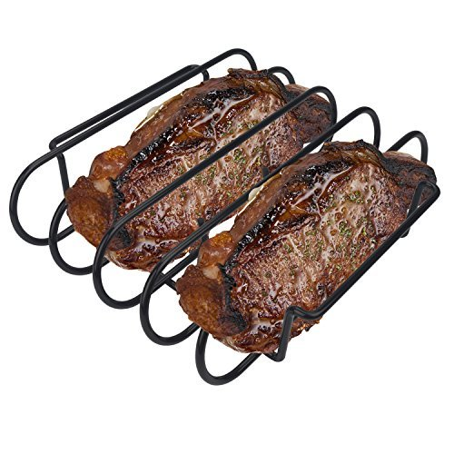 KALREDE Rib Rack BBQ - Non-Stick Rib Holder Grilling 4 Holds - Heavy Duty Black Grill Racks - Outdoor Barbecue Accessories