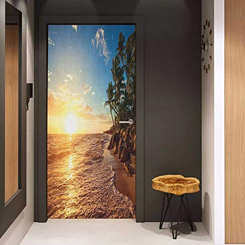 - Onefzc Door Wall Sticker Tropical Palm Trees on Tropical Beach Sunrise Morning View Panoramic Nature Picture Mural Wallpaper W30 x H80 Blue Yellow Brown