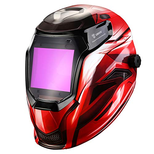 DEKOPRO Durable Solar Powered Welding Helmet Auto Darkening Professional Hood with LED Digital Display Accurate Adjustable Shade Range 4/5-8/9-13 for Mig Tig Arc Weld Grinding Welder Mask Red