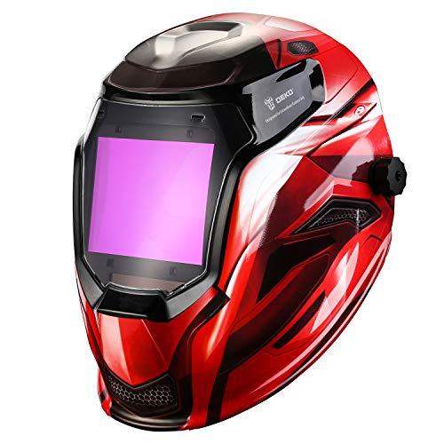 Solar Powered Welding Helmet Auto Darkening Professional Hood with Wide Lens Adjustable Shade Range 4/9-13 for Mig Tig Arc Weld Grinding Welder Mask (Red)