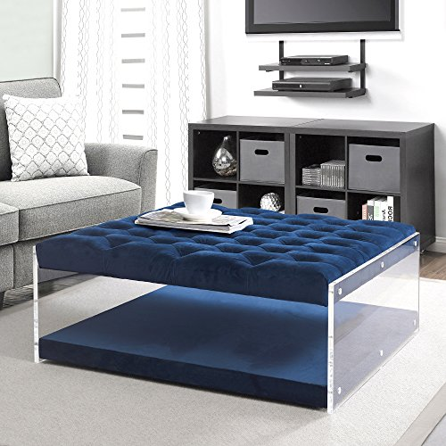 Inspired Home Audrey Blue Velvet Acrylic Ottoman - Cocktail Coffee Table | Square Tufted | Nailhead