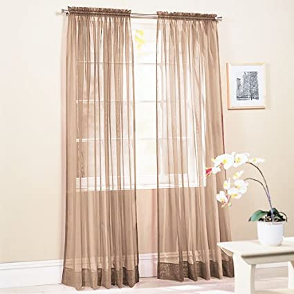 SET OF 2 TAUPE SHEER VOILE CURTAINS TAILORED CURTAIN PANELS Size 58