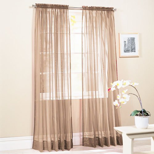 SET OF 2, TAUPE SHEER VOILE CURTAINS / TAILORED CURTAIN PANELS