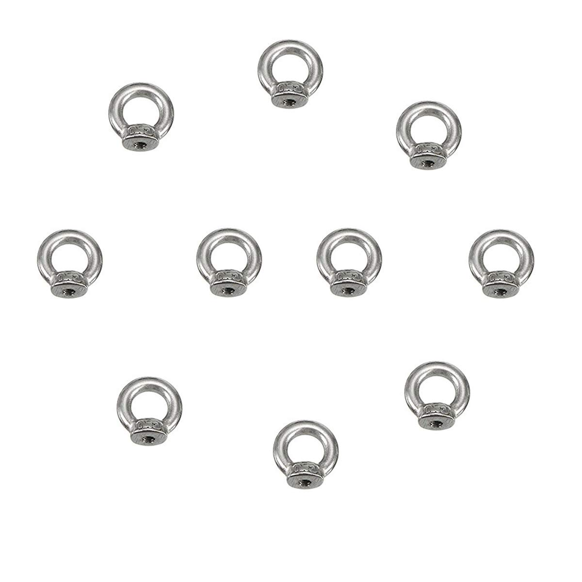 10 PCS 304 Stainless Steel M3 Thread Dia Ring Shape Eyed Bolt Lifting Eye Nut Fastener