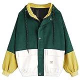 PIKAqiu33 Women Long Sleeve Corduroy Patchwork Oversize Jacket Overcoat Casual Sexy Spring Autumn (Green, M)
