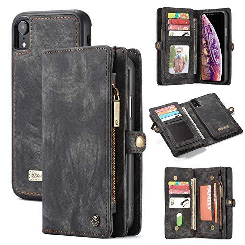 iPhone XR Leather Wallet Case,AKHVRS Premium Leather Folding Flip Wallet Case Cover for iPhone XR Card Slots Magnetic Closure Protective Cover Detachable Wallet Folio for iPhone XR 6.1-Black