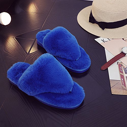 LaxBa Lhiver au chaud, lhiver Chaussons Chaussons moelleux Accueil chaleureux en hiver, chaussures antiglisse Chambre chaussons bleu Triangle36-37 (habituellement 35-36 pieds)