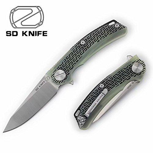 Stedemon Outdoor pocket folding Flipper knife - Tactical G10 Jade Handle - Swenden Sandvik 14C27N Stainless steel Satin Blade Finish - BG0103- Folded Knives by Stedemon