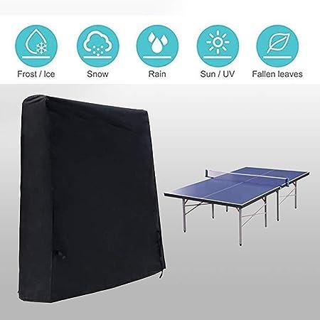 Nuevo tabla negro cubierta de tenis de mesa, patio con jardín ...