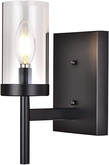 Amazon Com Cotulin Modern Black Metal Wall Sconce Wall Light With Clear Glass Shade For Bedroom Hallway Living Room Wall Sconce Lighting For Bathroom Small Bedside Wall Lamp Home Improvement