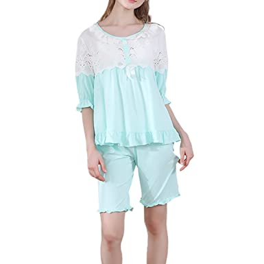 5feb179173 Image Unavailable. Image not available for. Colour: Zhhlaixing Summer Womens  Comfortable Cotton Pajama Set Girls Cute Lace Sleepwear Nightgown