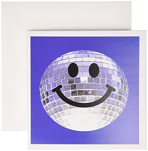 3dRose Silver Disco Ball Smiley Face Seventies 70S Style Discoball Dance Hall Diva on Blue Background Greeting Cards, Set of 12 (gc_76662_2)