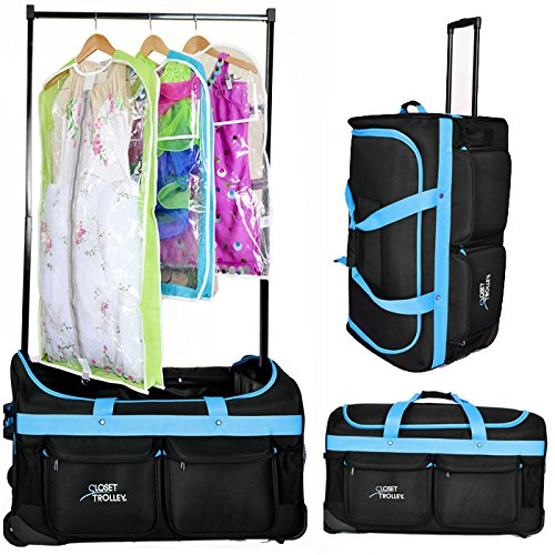 Closet Trolley Dance Bag With Garment Rack Blue Dance