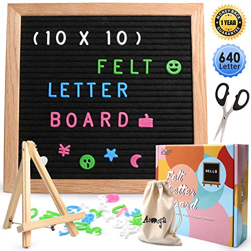 (Aomoya Felt Letter Board 10x10, Letters Board, Letterboard, Word Message Board Sign, Changeable Letter Boards with 640 Colorful Letters Numbers Symbol, Wooden Bracket, Storage Bag, Scissors, Gift Box)