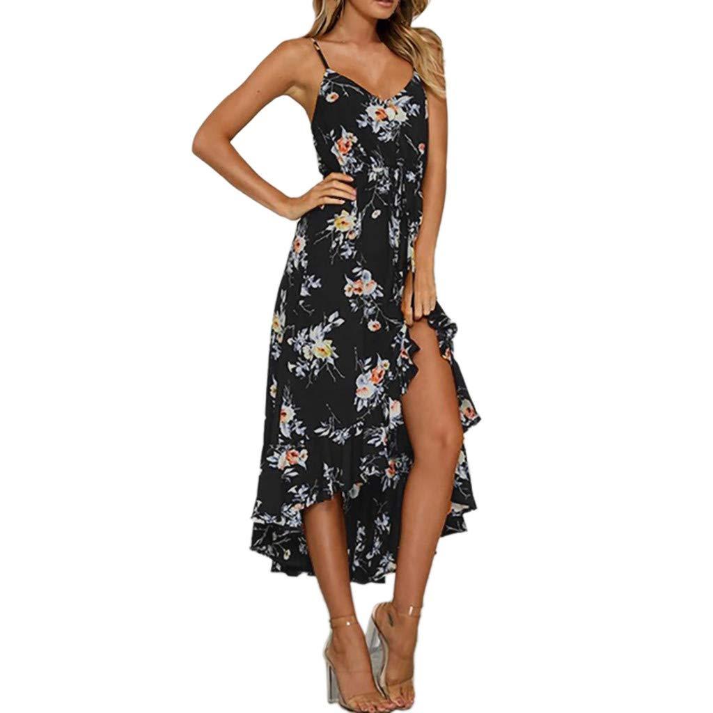 9418c3d0ac6b6 Boho Maxi Dress, Bestoppen Women Summer Sleeveless Beach Dress Irregular  Lang Party Dresses Chiffon Holiday Sundress for Ladies