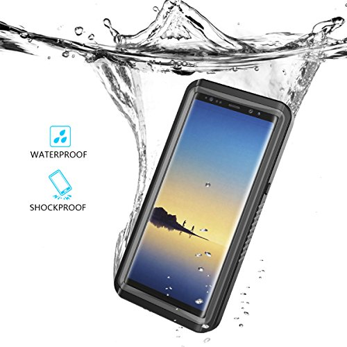 Galaxy Note 8 Waterproof Case, Moonmini Underwater Shockproof Snow-Proof Rugged Full Protection Skin Shell Built in Screen Protector with Touch ID for Samsung Galaxy Note 8 Black