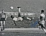 Pele Signed Brazil Black & White Bicycle Kick 16x20 Photo PSA
