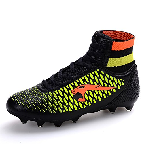 Leader show Mens Performance Athletic Soccer Cleat,Trainer Football Shoes Black