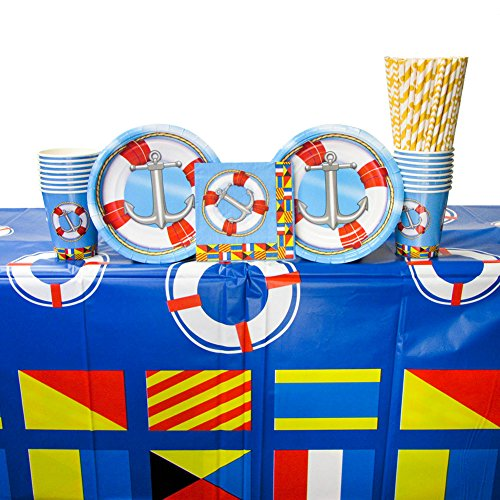 Nautical Party Supplies Pack for 16 Guests: Straws, Dessert Plates, Beverage Napkins, Cups, and Table Cover (Bundle for 16)