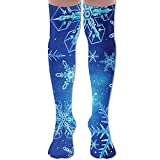 kitchen 67 happy hour Warm Polyester And Cotton Happy Winter Holiday Beautiful Snowflakes Knee High Socks,Unisex Design Socks For Men And Women Length 65cm