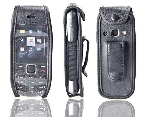 caseroxx Handy-Tasche Ledertasche mit Gürtelclip für Nokia 3720 aus Echtleder, Handyhülle für Gürtel (mit Sichtfenster aus schmutzabweisender Klarsichtfolie in schwarz)