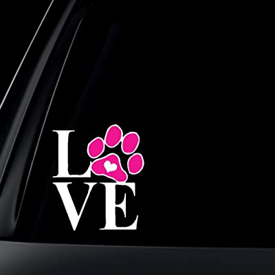 Love Dog Cat Paw Print with Heart Car Decal / Sticker: Automotive