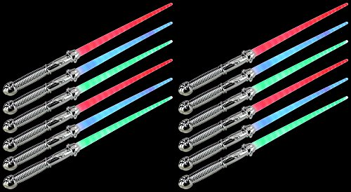 Set of 12 VT Solid Chrome Star LED Light Up Party Favor Toy Light Sword Sabers (Colors May -