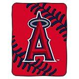 "MLB Los Angeles Angels 60-Inch-by-80-Inch Raschel Plush Blanket ""Big Stitching"" Design"