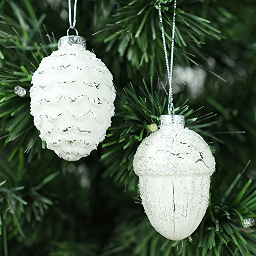 Set of 2 White Hand Painted Pinecone Blown Glass Christmas Ornaments - White Hand Painted Glass