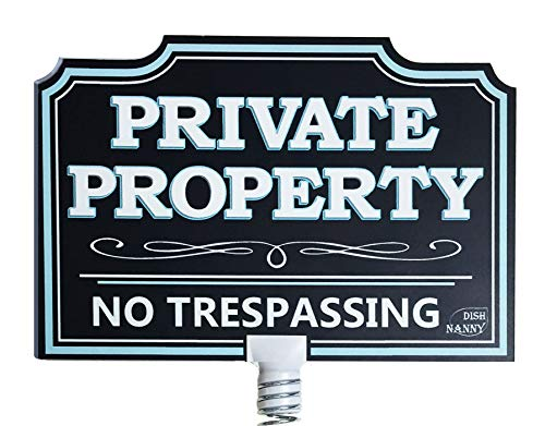 (DISH NANNY Private Property Sign No Trespassing House Yard Sign Dynamic | No Trespassing Signs Yard Privacy Sign for Home No Soliciting Business Two Sides Metal Stake Deep Blue (Private Property))
