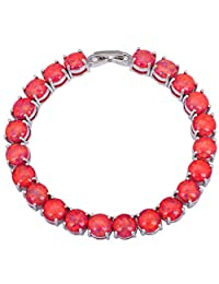 BMALL Glam Luxe Mysterious Silver Red Fire Opal Bracelets Bangles For Teen Girls Pulseiras Femininas 19.5Cm 7.67 Inch B432