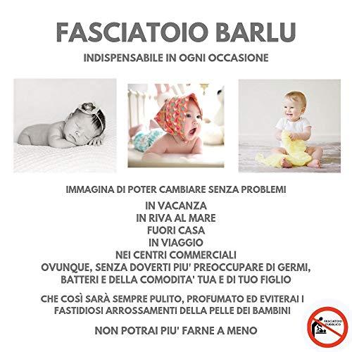 Fasciatoio Portatile Pieghevole da Viaggio BARLU®️ - Idea Regalo Battesimo - Lista Nascita - Colorato Per Bambini e Bambine - Materassino Imbottito Sicuro e Anti-Germi - Cambia il Pannolino Ovunque