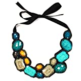 Colorful Aqua Blue Statement Bib Necklace