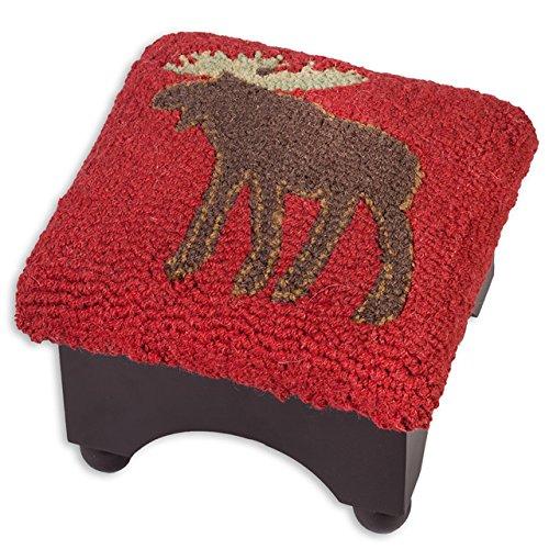 Chandler 4 Corners Moose Cricket Hooked Wool Top Cricket Footstool