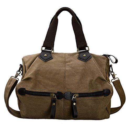 Double Durable Top Womens Dark BMC Khaki Satchel Handle Material Canvas Large Handbag XwxgI5nd7