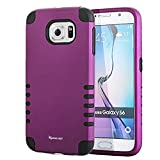 S6 Case, Shockproof Heavy Duty Combo Hybrid Defender High Impact Body Rugged Hard PC & Silicone Case Protective Cover For Samsung Galaxy S6 (Purple)