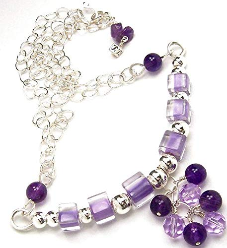 (Amethyst Necklace Purple Swarovski Crystal Furnace Cane Glass Sterling Silver)