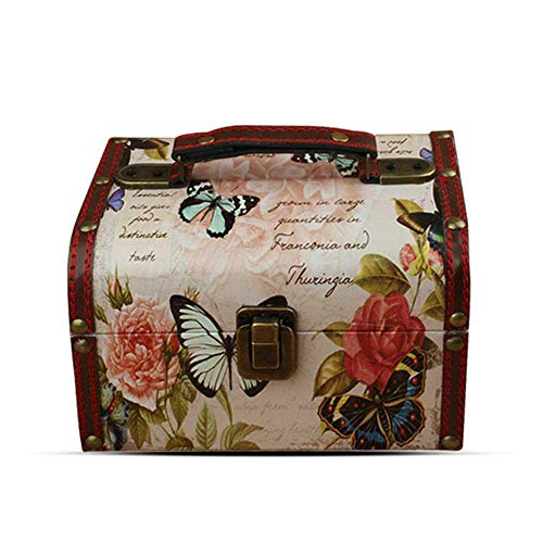 Aolvo Wooden Treasure Box Butterfly and Rose Pattern Jewelry Keepsakes Box Decorative Treasure Storage Chest Organizer for Women 75.74.7inch