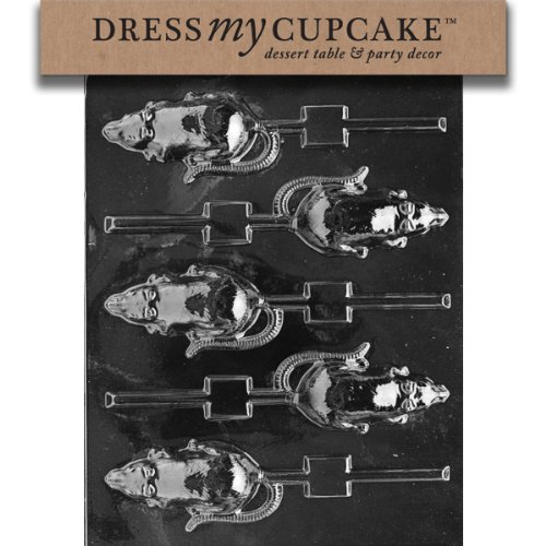 Dress My Cupcake Chocolate Candy Mold, Rat Lollipop, Halloween