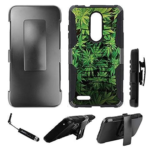 ZTE ZMax Pro Holster Case, Hybrid 2-Layer Armor Holster Kickstand Hard Case by URAKKI - ZTE ZMax PRO Z981 (2016) / ZTE Blade X Max (2017) / ZTE Carry ONLY [Weed Marijuana Camouflage] (Zte Zmax Phone Case Marijuana)