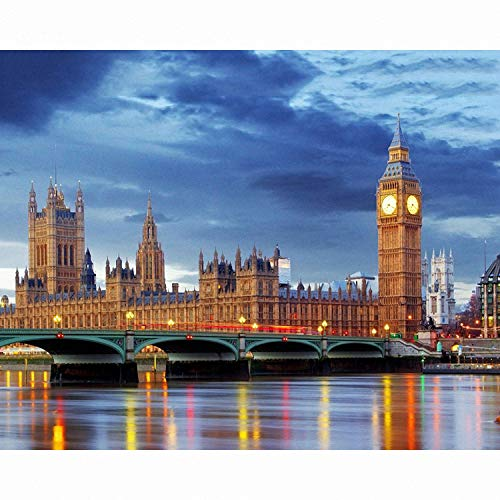 Toopia Modular Pictures by Numbers on Canvas London Bridge Scenery Painting by Numbers for Hall Poster -