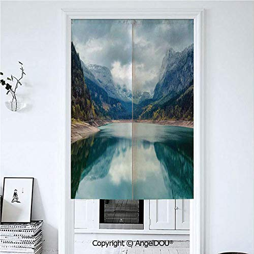 - AngelDOU Lake House Decor Home Doorway Curtains Decorative Screen Alpine Lake with Dramatic Sky Forest and Mountains Fantastic Journey Art Photo for Hallway Kitchen Hotel Restaurant. 33.5x59 inches