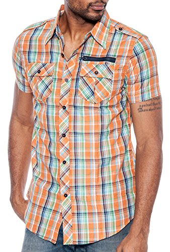 id Short Sleeve Button Down Shirt (Orange/Green, S) ()