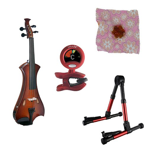 Meisel Electric Violin Pack Sunburst w/Red Stand, Tuner & Daisy Rosin