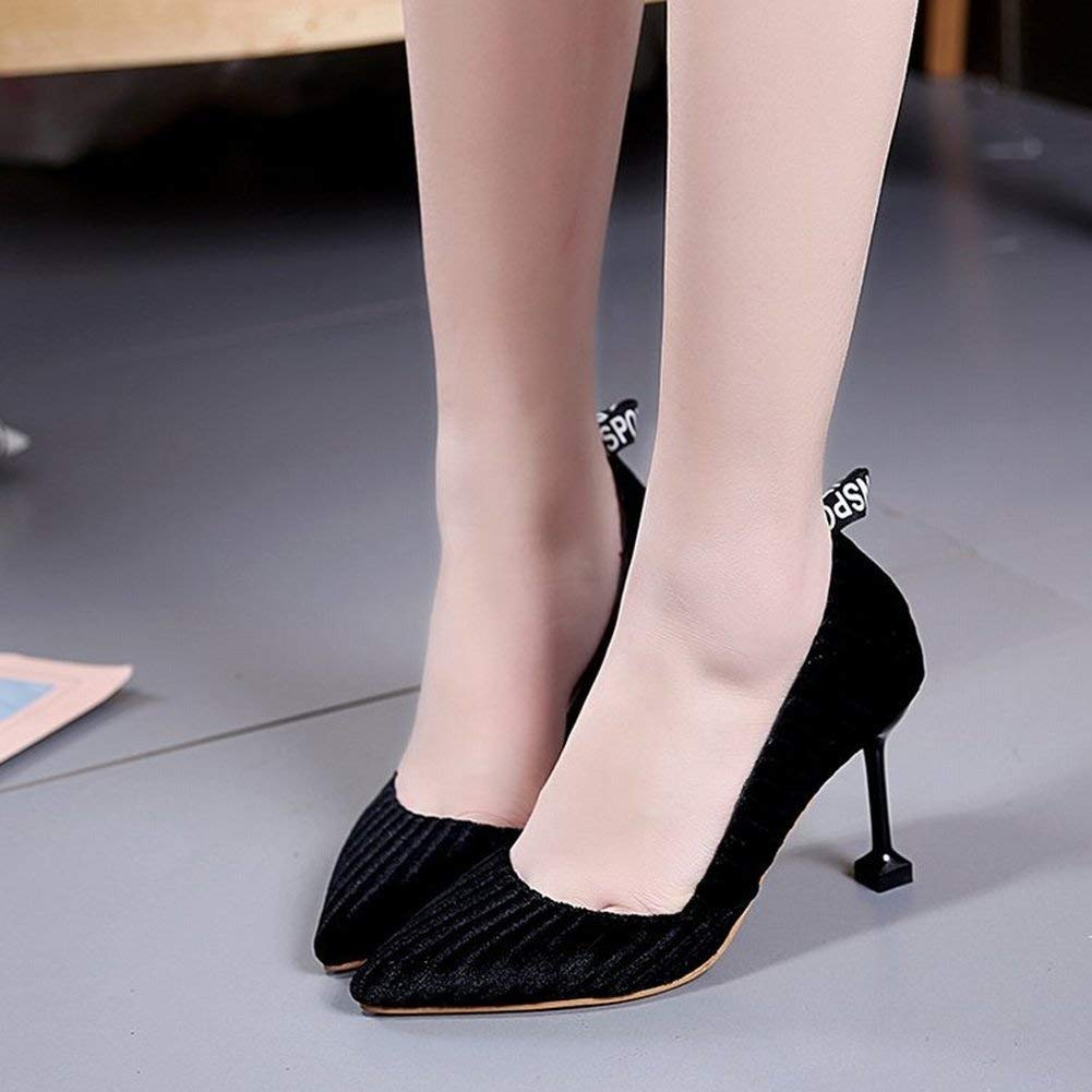 Fuxitoggo Hochhackige Geldbuße All-Over-Schuh mit Einem Einzigen Sexy All-Over-Schuh Geldbuße Der mit Flachen Mundmode-Schuhen Fein Abgestimmt Ist (Farbe   Schwarz Größe   37) c43a00