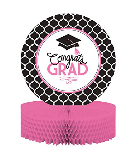 Grad White Table Decor - Creative Converting Centerpiece with Honeycomb Base and Glamorous Grad Collection, Black/White/Pink