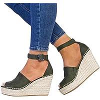 Women Sandals, Shybuy Women's Peep Toe Ankle Strap Buckle Espadrille Wedge Sandals Fashon Summer Sandals Shoes